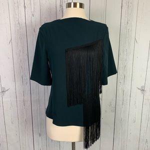Zara Woman green black fringe top